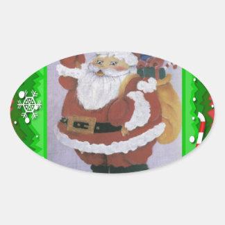 santa clause oval sticker