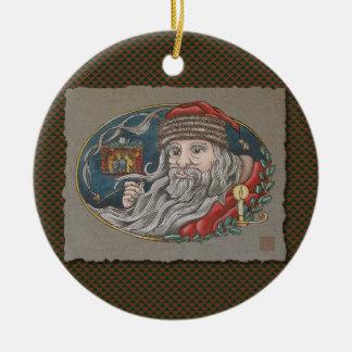 Santa Clause & Pipe Ceramic Ornament