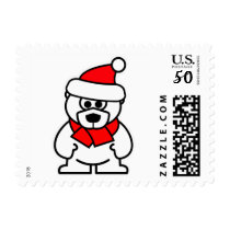 Santa Clause polar bear cartoon Christmas stamps