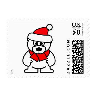 Santa Clause polar bear cartoon Christmas stamps