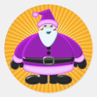 Santa Clause Purple Design Classic Round Sticker