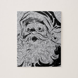 Santa Clause Silver Sparkles Jigsaw Puzzle