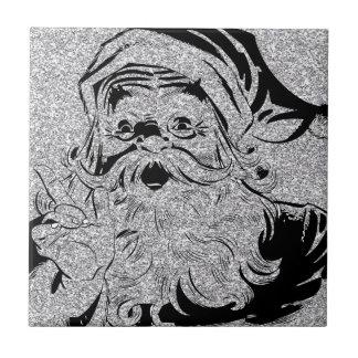 Santa Clause Silver Sparkles Ceramic Tile