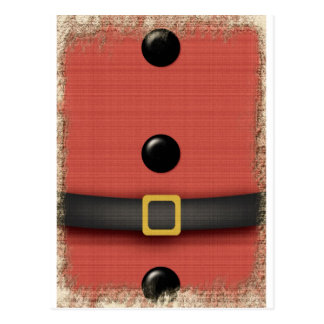santa clause suit with belt buttons postcard