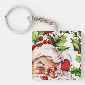 Santa clause vintage holly christmas keychain