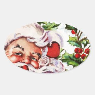 Santa clause vintage holly elegant oval sticker
