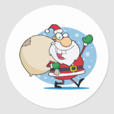 Santa Clause with sack christmas holiday design sticker