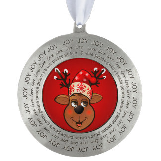Santa Claus's Reindeer Round Pewter Christmas Ornament