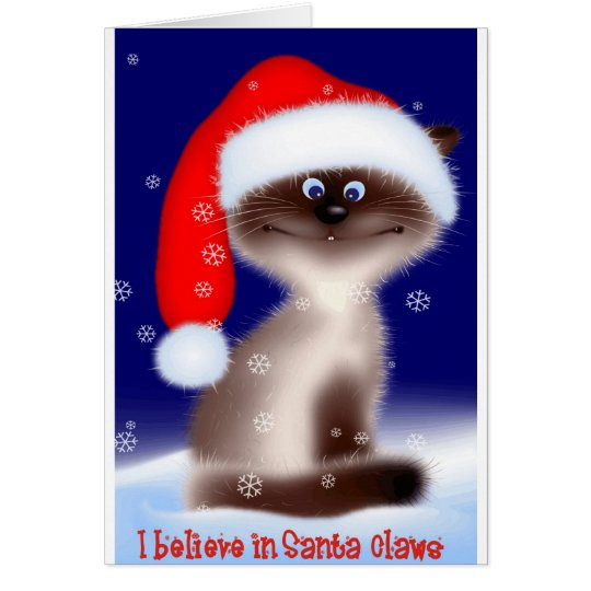 Santa Claws Cat Card