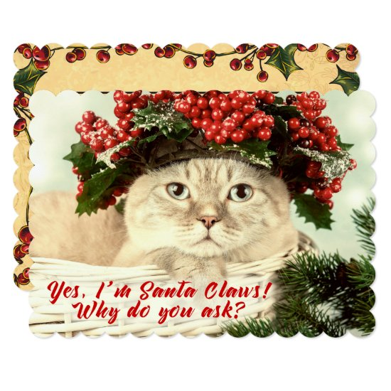 "Santa ""Claws"" Christmas Cat Two Sided Card"