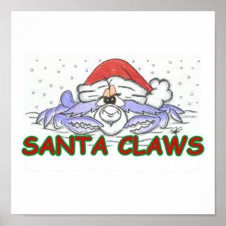Santa CLAWS Christmas Crab Print