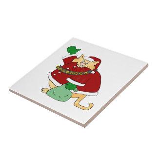 Santa Claws Kitty Small Square Tile