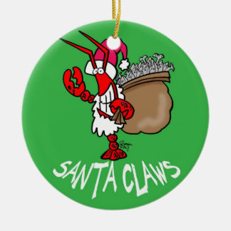 Santa Claws Lobster Christmas Ornament! Ceramic Ornament