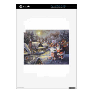 Santa Climbing Down The Chimney Christmas Eve Decal For The iPad 2