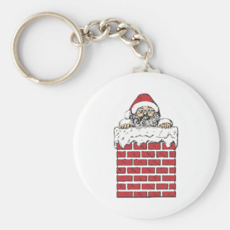 Santa climbing down the chimney keychain