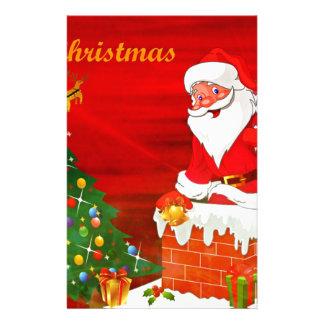 Santa Climbing Down The Chimney Stationery
