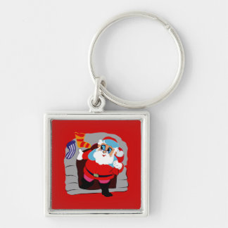 santa climbing out of chimney Silver-Colored square keychain