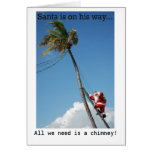 Santa Climbing Palm Tree Holiday Card