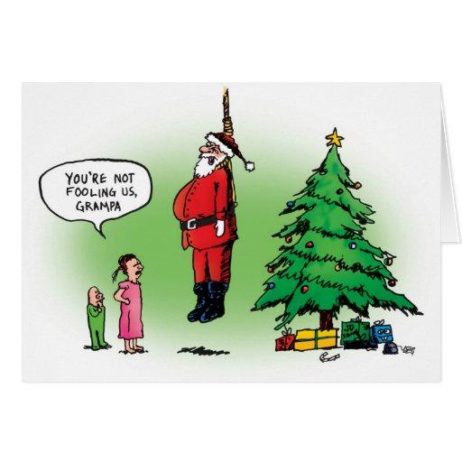 Santa colgado pozo asusta la tarjeta de Navidad de