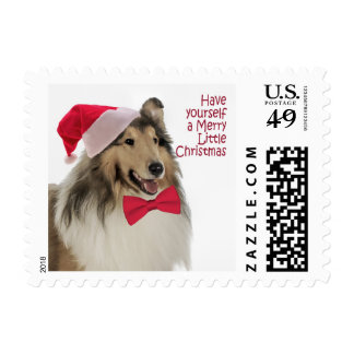 Santa Collie Postage Stamps