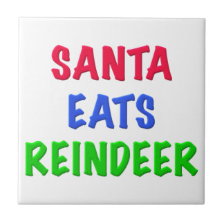 Santa come el reno azulejos cerámicos