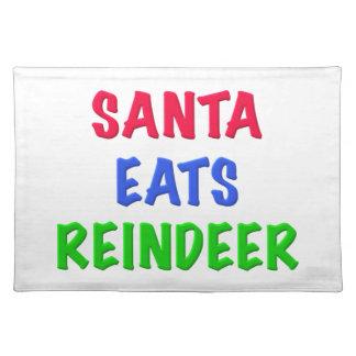 Santa come el reno manteles