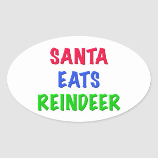 Santa come el reno calcomanías ovales personalizadas