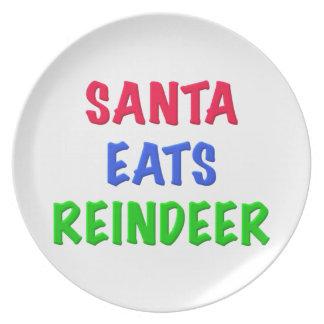 Santa come el reno plato de comida