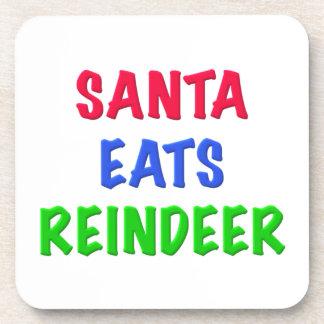 Santa come el reno posavasos de bebida
