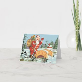Santa comes to town greeting cards
