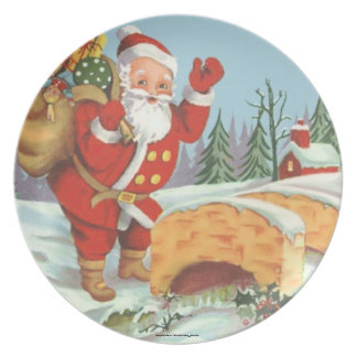 SANTA COMING TO TOWN MELAMINE PLATE