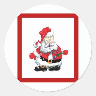 Santa comió a muchas galletas pegatina redonda
