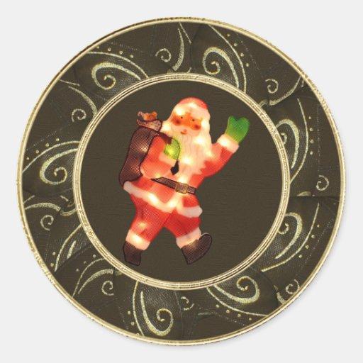 Santa con clase con las luces Brown y los Etiquetas Redondas