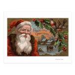 Santa con el acebo, escena del pueblo postal