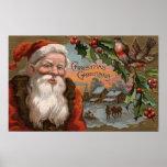 Santa con el acebo, escena del pueblo póster