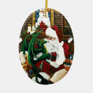 santa con el amigo del dragón adorno navideño ovalado de cerámica