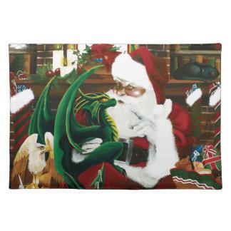 Santa con el amigo del dragón mantel individual