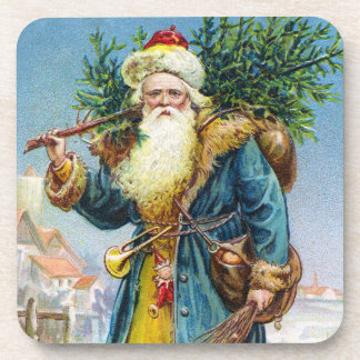 Santa con el árbol de abeto posavaso