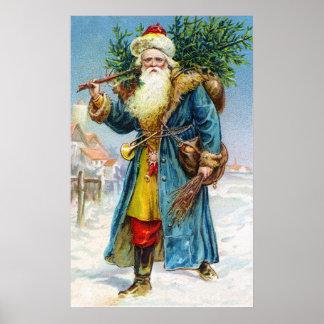 Santa con el árbol de abeto póster