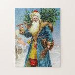 Santa con el árbol de abeto puzzle con fotos