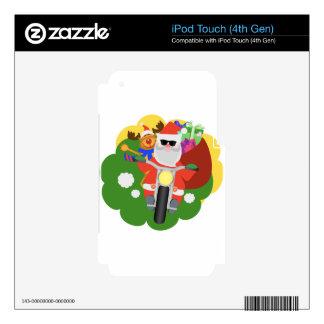 Santa con el bolso de Goodie iPod Touch 4G Calcomanías