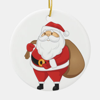 Santa con el bolso de presentes adorno navideño redondo de cerámica