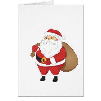 Santa con el bolso de presentes tarjeta de felicitación