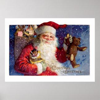 Santa con el peluche y Krampus en una caja Póster