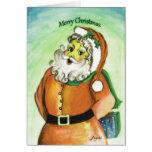 Santa con el regalo del navidad tarjetas