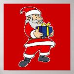 Santa con el regalo posters
