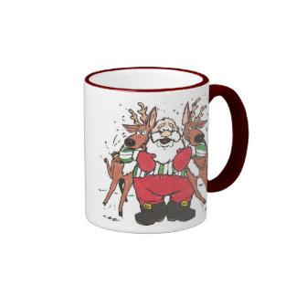 Santa con el reigndeer tazas