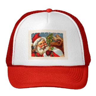 Santa con el reno gorro de camionero