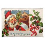 Santa con el reno mantel