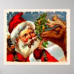 Santa con el reno poster